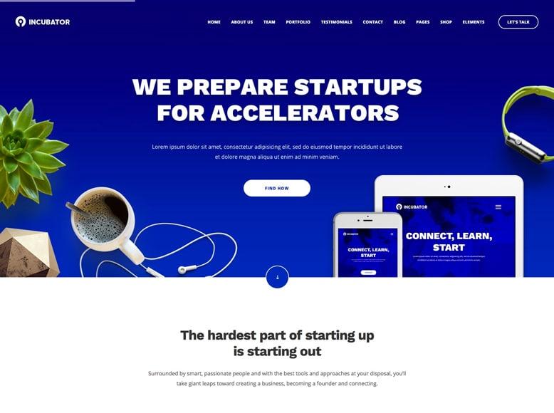 Incubator - Plantilla a una sola página de WordPress para startups, agencias y empresas
