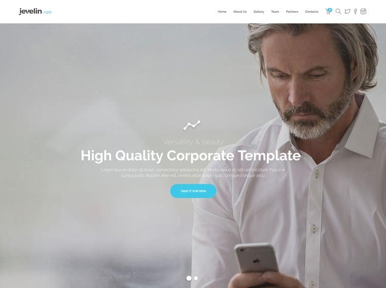 Jevelin - Tema WordPress con diseño a una sola página para empresas y startups