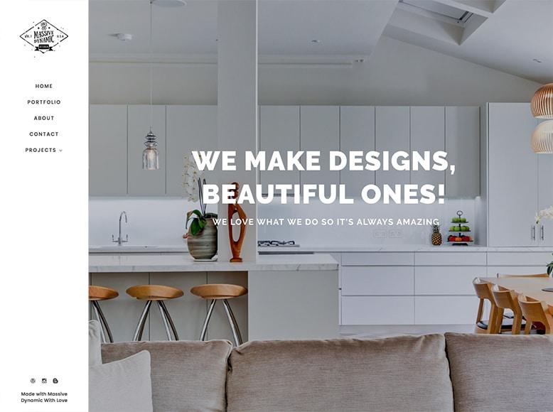 Massive Dynamic - Plantilla WordPress para portafolios de estudios de diseño de interiores y decoración