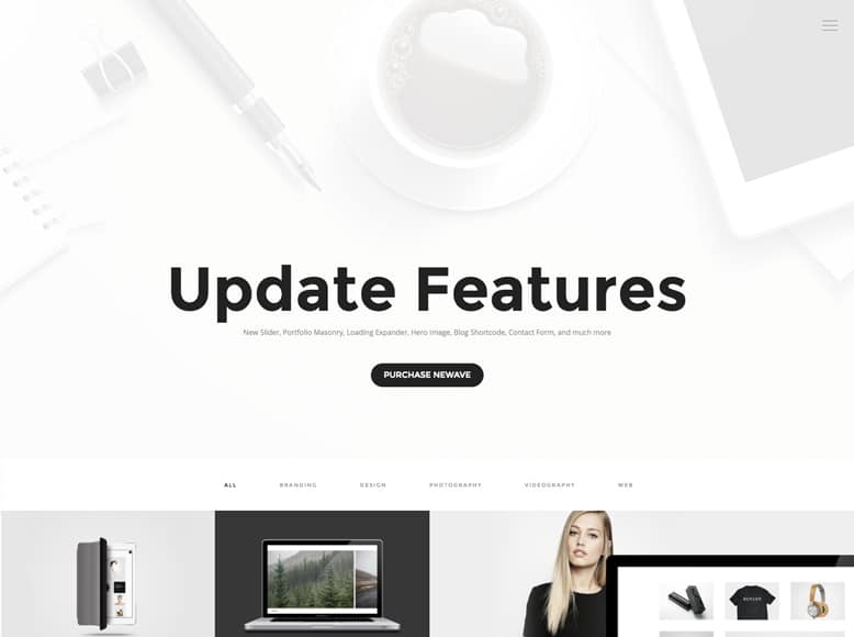 Newave - Tema WordPress a una página para empresas, agencias, fotógrafos y freelances