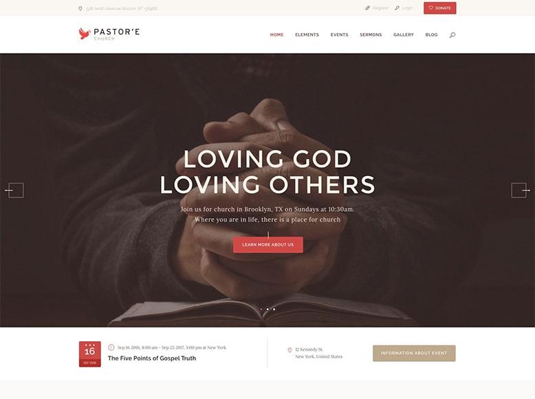 Pastor'e - Plantilla WordPress para iglesias, grupos de oración, retiros espirituales, monasterios