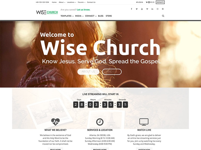 Wise Church - Plantilla WordPress para iglesias, asociaciones religiosas, mezquitas, sinagogas, templos
