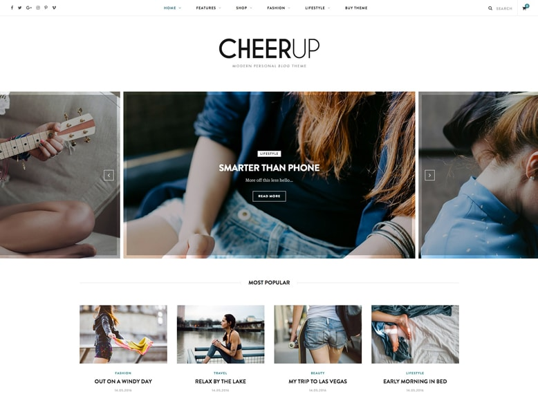 CheerUp - Plantilla de WordPress moderna para blogs y revistas de moda y tendencias