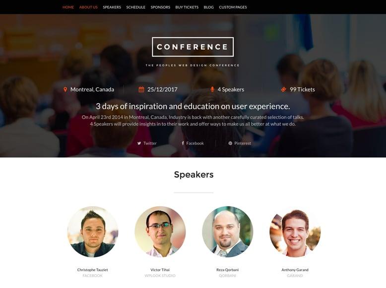 Conference - Plantilla WordPress moderna para eventos y conferencias de empresas