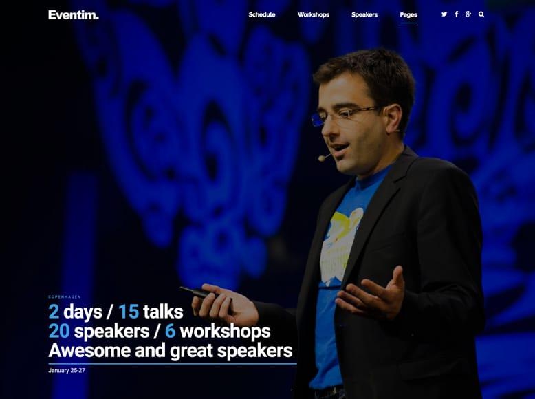 Eventim - Plantilla WordPress para eventos, conferencias con venta de entradas