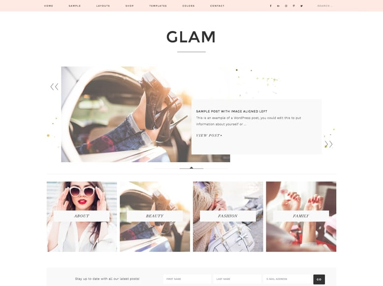 Glam Pro - Plantilla WordPress elegante para blogs personales femeninos