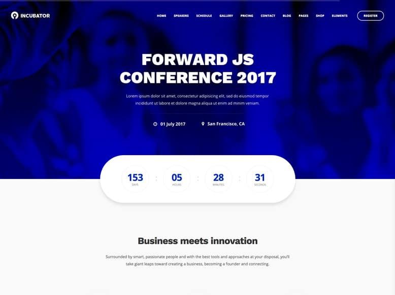 Incubator - Plantilla WordPress para eventos y conferencias corporativas