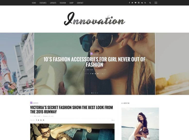 Innovation - Plantilla WordPress moderna para blogs de moda, belleza y tendencias