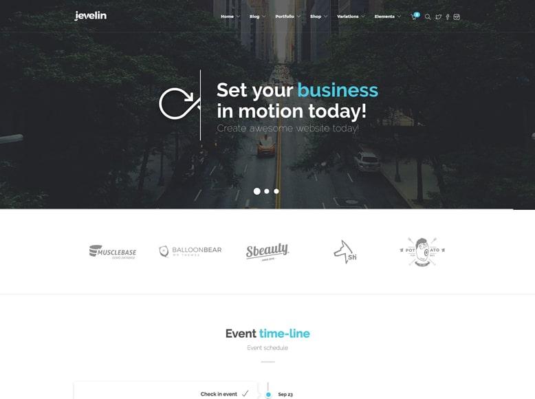 Jevelin - Tema WordPress moderno para promoción de eventos y conferencias de empresas