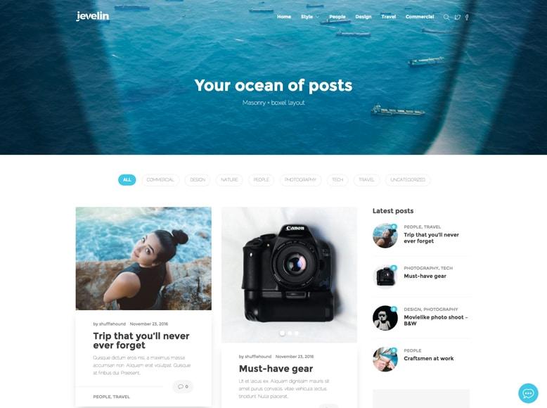 Jevelin - Tema WordPress moderno para blogs personales y de empresa