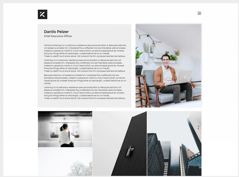 Kalium - Plantilla WordPress minimalista para currículums y portafolios personales online