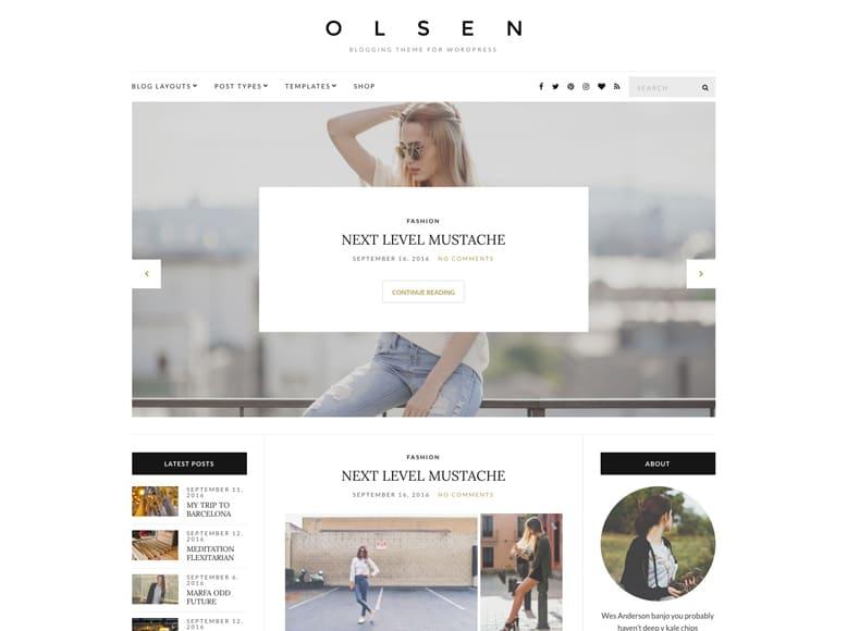Olsen - Plantilla WordPress para blogs minimalistas de moda, estilo de vida, tendencias y belleza