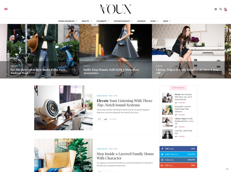 The Voux - Tema WordPress para revistas digitales y blogs de moda y tendencias