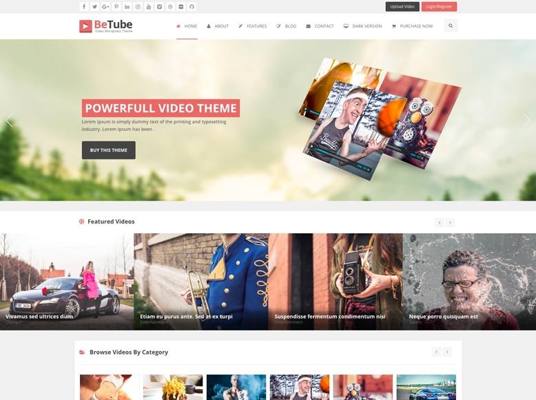 Betube - Plantilla WordPress para sitios web que comparten vídeos y vídeo blogs