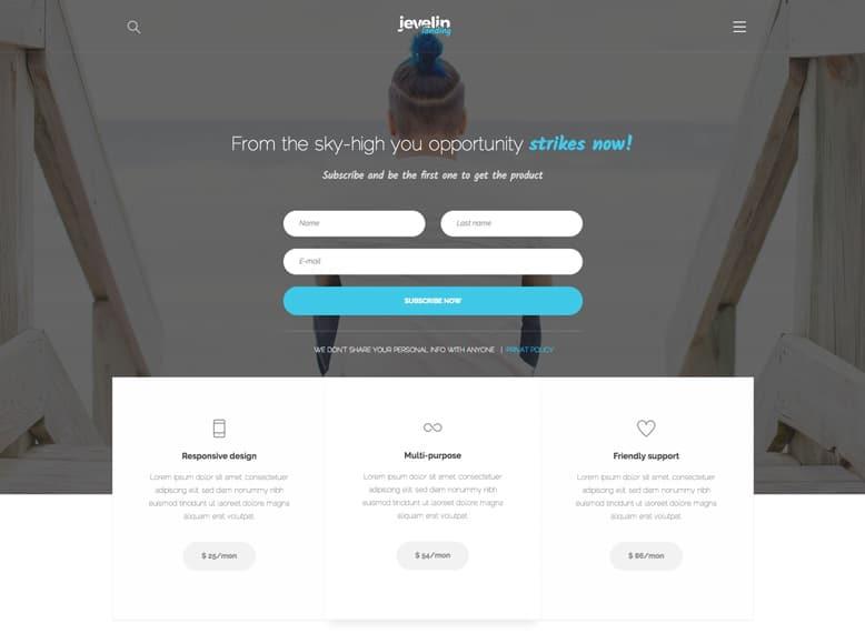 Jevelin - Tema WordPress moderno para landing pages creativas