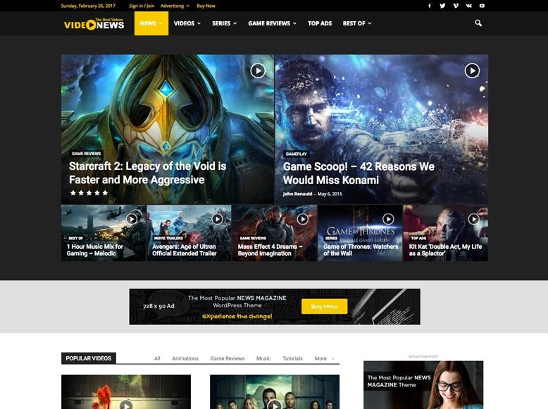 Tema WordPress para modernas revistas online de juegos y videojuegos - Newspaper 7
