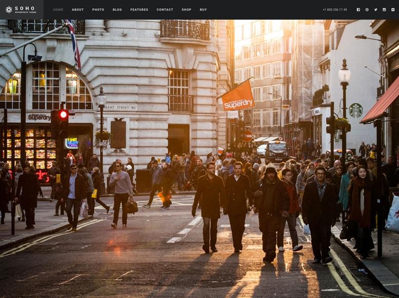 Soho - Plantilla WordPress para videoblogs, vlogs, promoción de películas y vídeos a pantalla completa