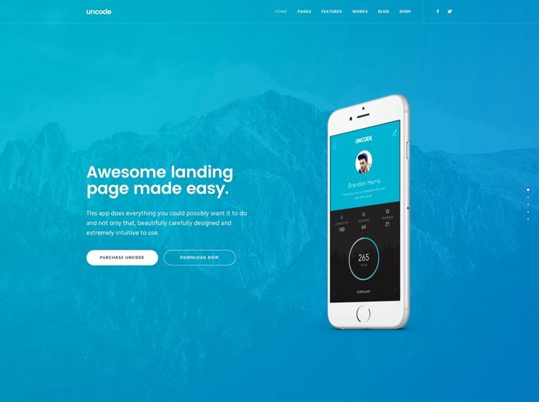 Uncode - Plantilla WordPress atractiva para páginas de aterrizaje de promoción de productos