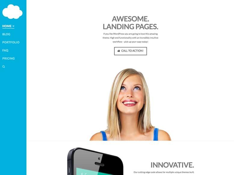X - Plantilla WordPress moderna y original para páginas de aterrizaje o landing pages