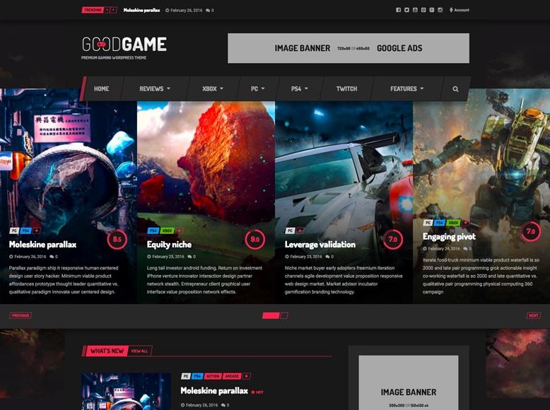 GoodGame - Plantilla WordPress para revistas y blogs de valoración de juegos