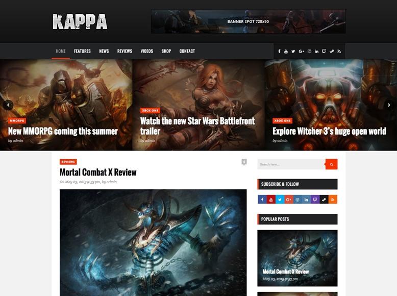Kappa - Plantilla WordPress para blogs y revista de análisis de juegos
