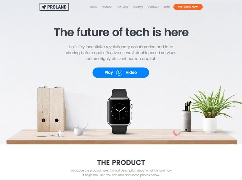 Proland - Plantilla WordPress para landing pages de promoción de productos
