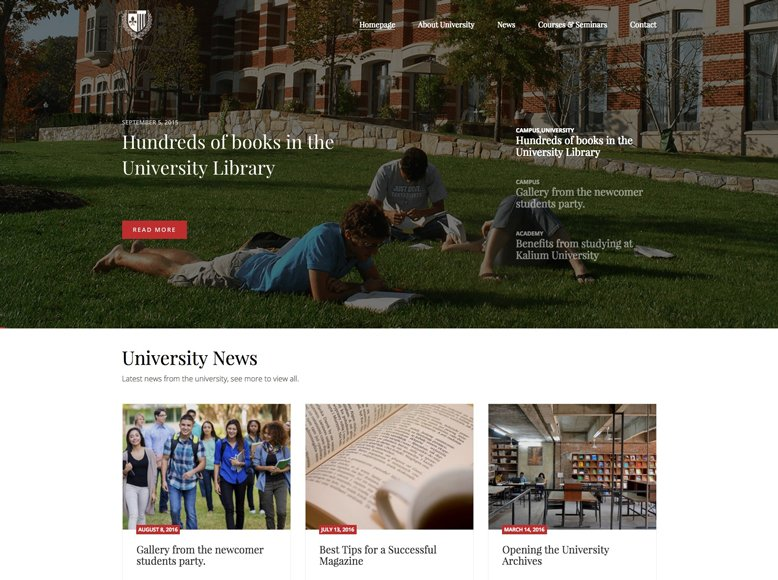 Kalium - Plantilla WordPress para centros de educación, universidades, colegios mayores