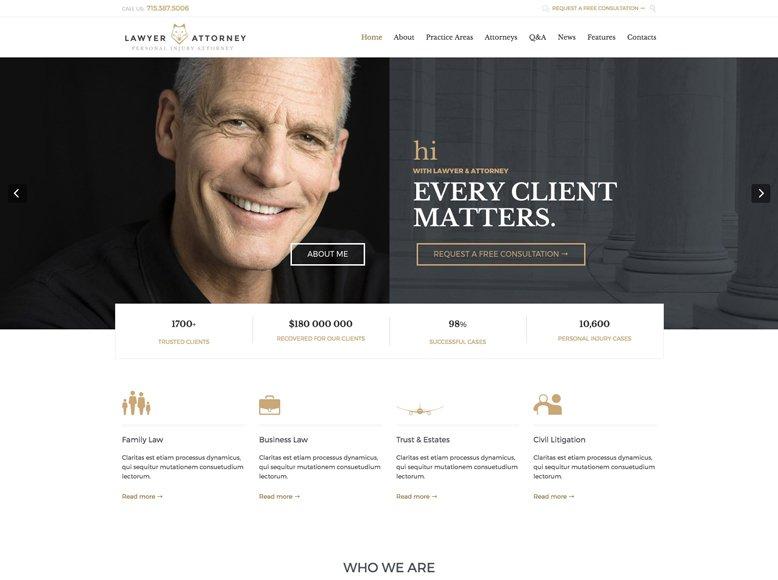 Lawyer & Attorney - Tema WordPress para abogados y asesorías jurídicas