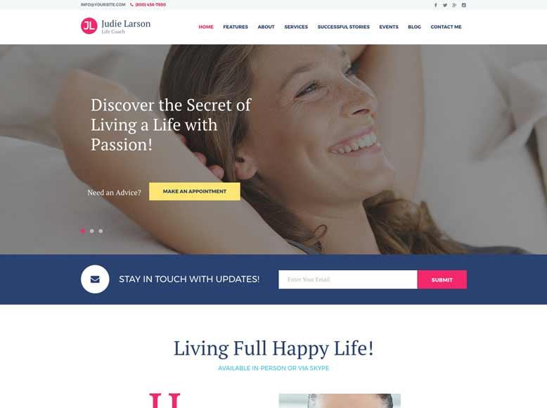 Life Coach - Tema WordPress para coachs de vida y de salud