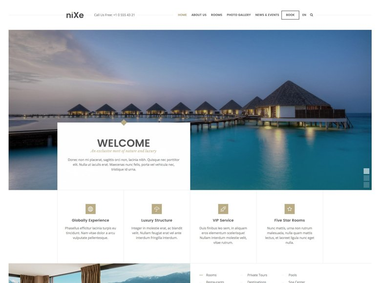 Nixe - Plantilla WordPress para hoteles, clubs, spas, yates y alquileres vacacionales