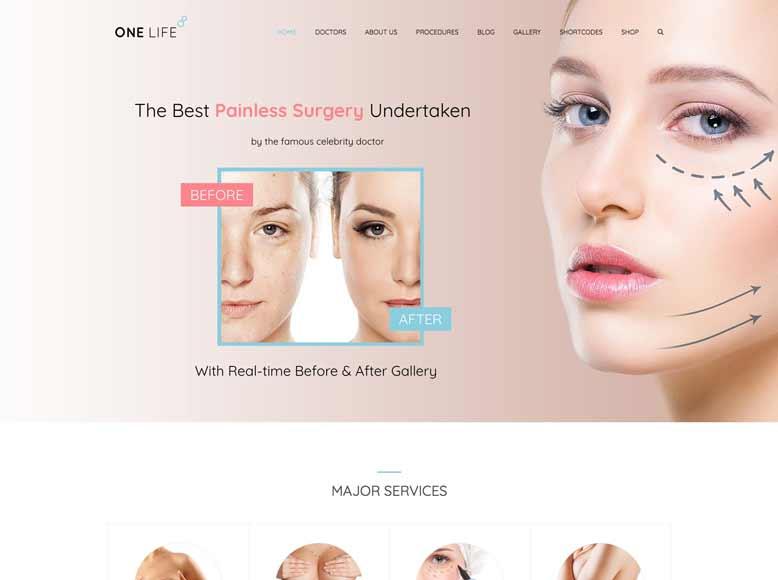 OneLife - Plantilla WordPress para centros de estética, cirugía plástica, clínicas de belleza
