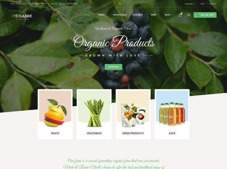 Organik - Plantilla WordPress para tiendas ecológicas y herbolarios con WooCommerce