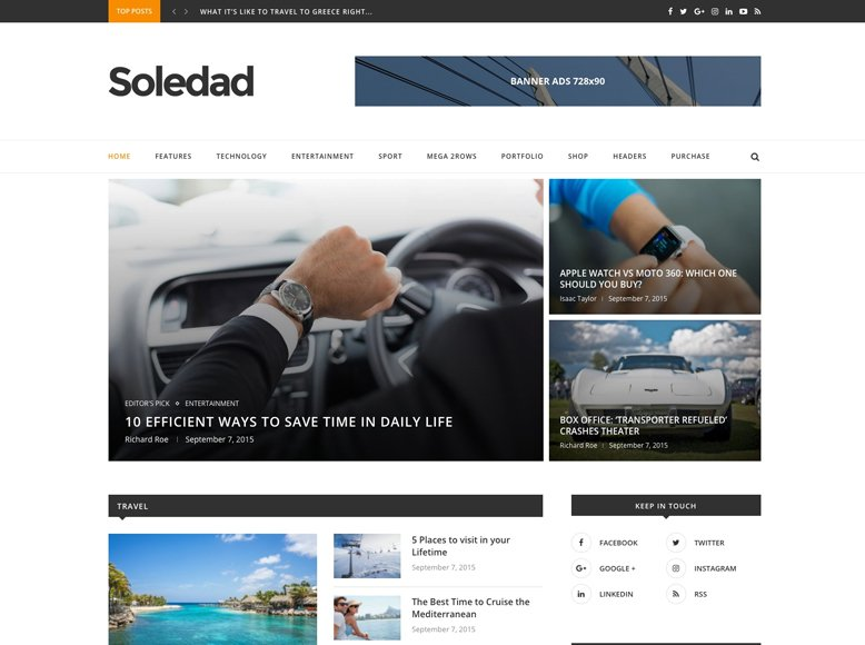 Soledad - Plantilla WordPress para revistas digitales modernas y profesionales