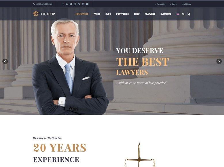 TheGem - Plantilla WordPress moderna para abogados y asesorías jurídicas