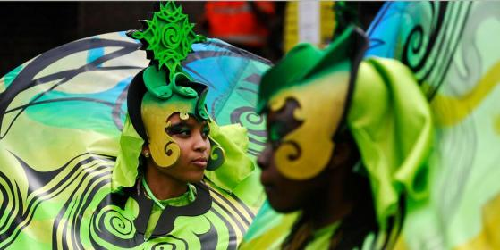 Notting Hill Carnival performers in costume