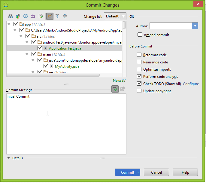 Selecting location for Git repository in Commit Changes screen