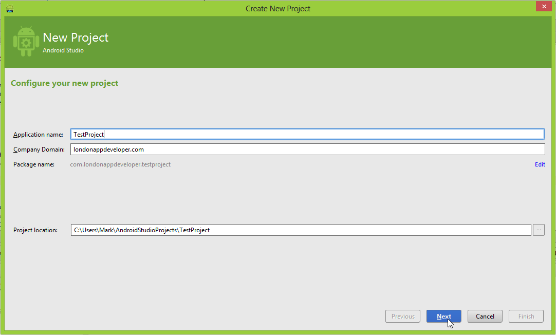 Android Studio new project window