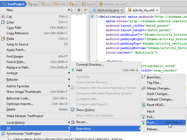 "Android Studio ""Git Push"" option"
