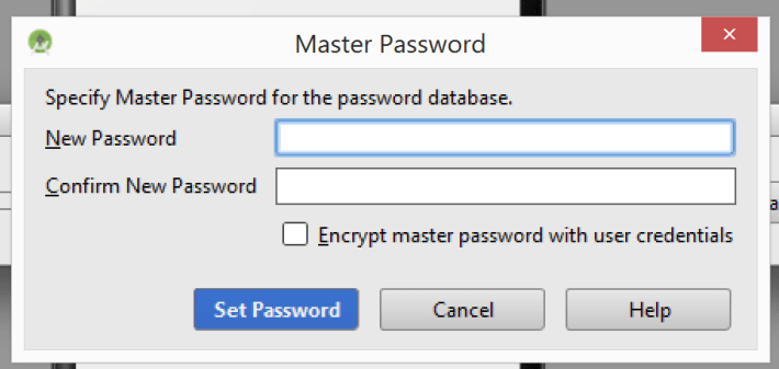 Screenshot of Master Password Prompt in Android Studio 1.x