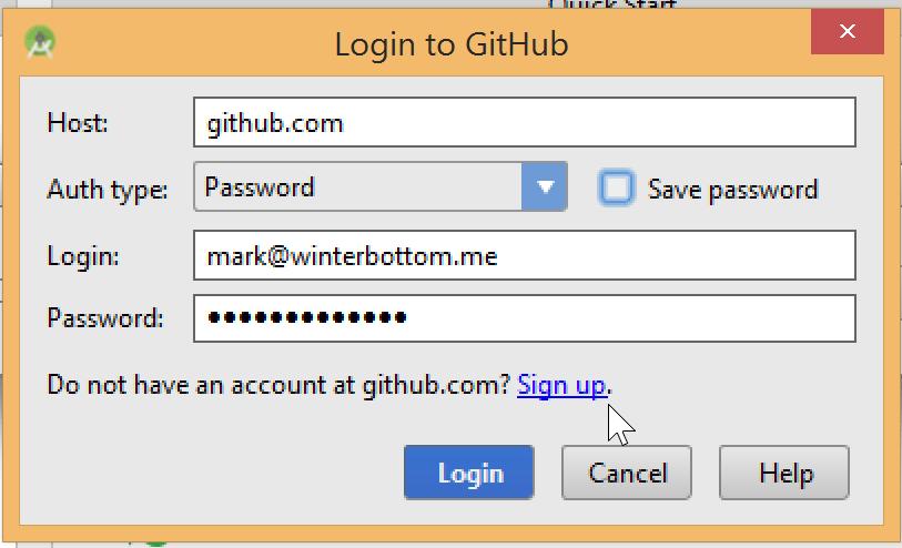 Android Studio Login to GitHub Screen
