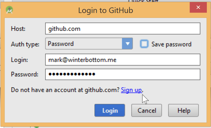 Android Studio Login to GitHub Screen