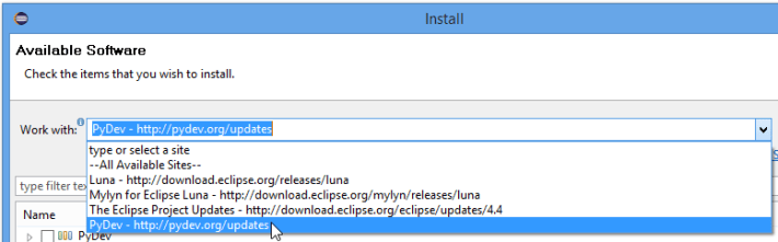 Eclipse Install New Software Work With Page Screenshot