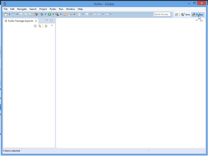 Eclipse Open With PyDev Screenshot