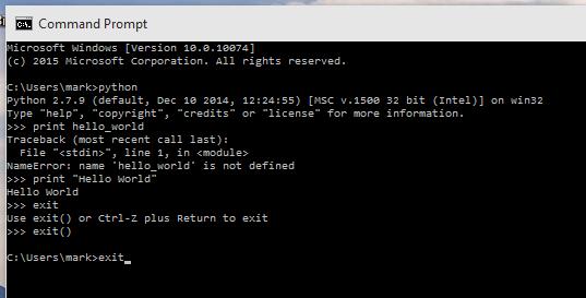 Windows 10 Command Prompt Python Screenshot