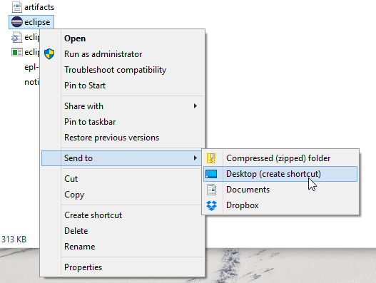 Eclipse create shortcut windows 10 screenshot