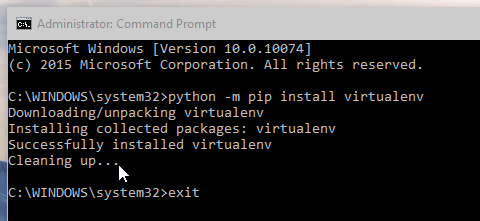 Windows 10 command prompt pip install screenshot