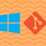 Windows and Git logos on an orange zig zag background