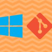 Windows and Git logos on an orange zig zag background