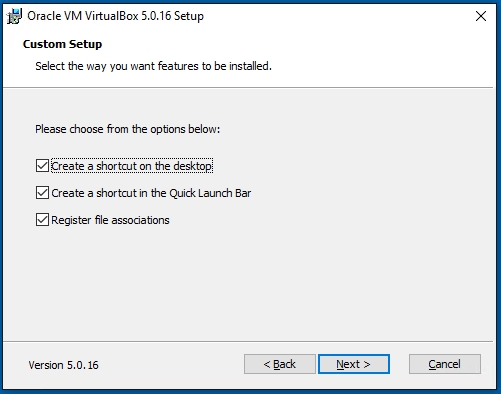 VirtualBox Custom Setup Install Screen