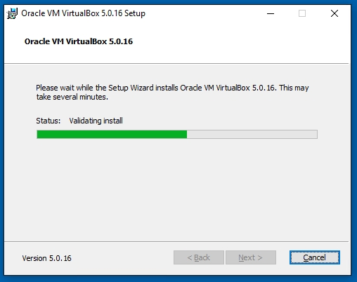 VirtualBox Oracle VM VirtualBox 5.0.16 Validating Install